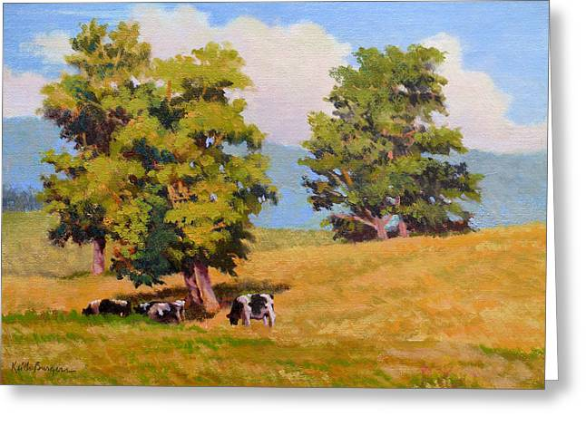 Bucolic Scenes Paintings Greeting Cards - Five Oaks Greeting Card by Keith Burgess