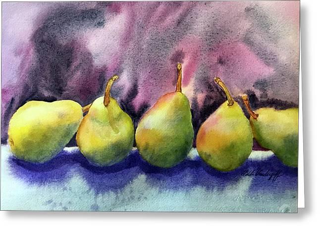 Five Pears Greeting Card