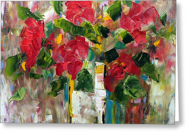 Abstract Vase Flower Print Greeting Cards - Five Red Flowers Greeting Card by Laurie Pace