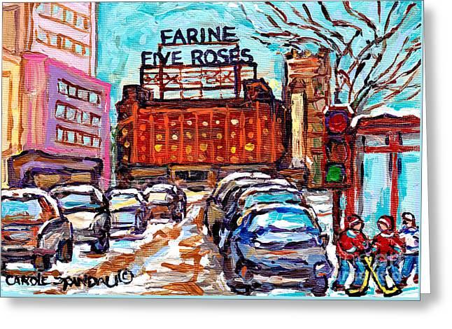 Five Roses Sign Montreal Landmark Marquee Street Hockey Painting Canadian Artist Carole Spandau      Greeting Card by Carole Spandau