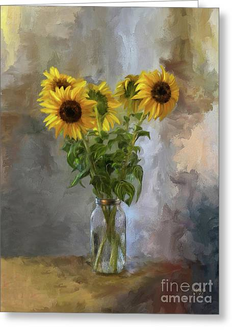 Five Sunflowers Centered Greeting Card