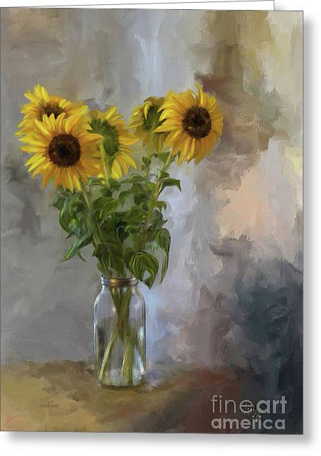 Five Sunflowers Greeting Card by Lois Bryan