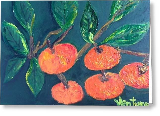 Five Tangerines Greeting Card