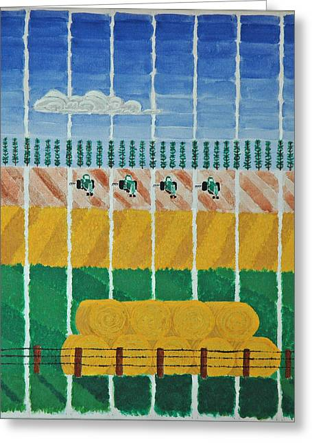 Five Tractors Greeting Card