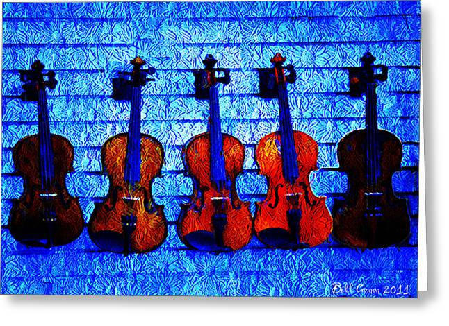 Fiddle Greeting Cards - Five Violins Greeting Card by Bill Cannon