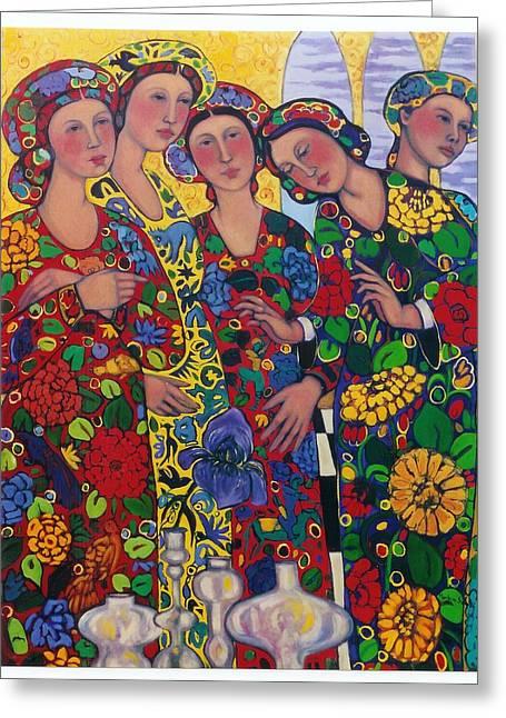 Five Women And The Iris Greeting Card by Marilene Sawaf