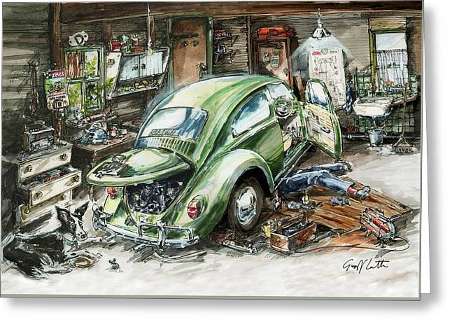 Graham Fixing His Green Vw Beetle With Help From Teddy Greeting Card by Geoff Latter