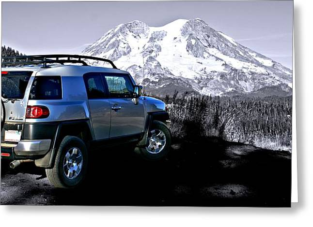 Fj Cruiser Mt. Rainier Washington Greeting Card