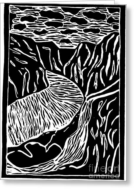 Fjord Norway - Limited Edition Linocut Print Greeting Card by Sascha Meyer