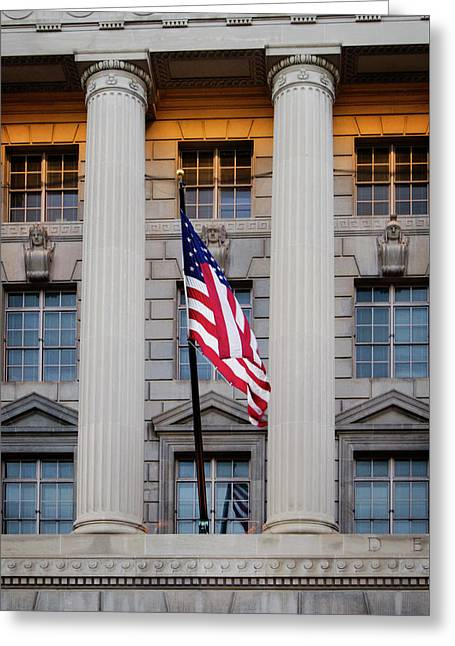 Flag And Column Greeting Card by Greg Mimbs