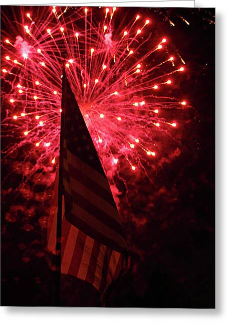 Flag And Fireworks Greeting Card by Alan Look