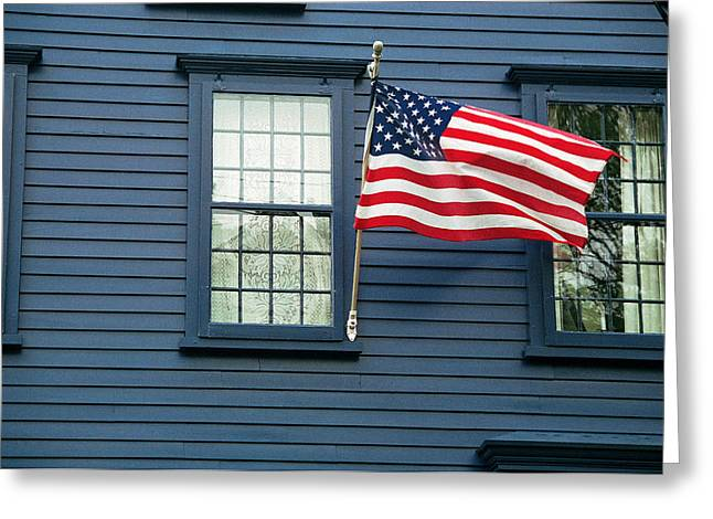 Greeting Card featuring the photograph Flag And Lace by Kenneth Campbell