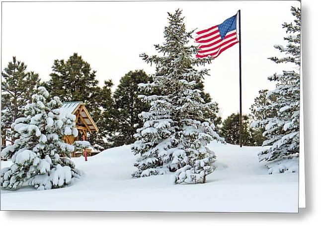 Flag And Snowy Pines Greeting Card by Dawn Key