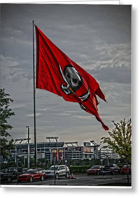 Flag And Stadium Greeting Card by Chauncy Holmes