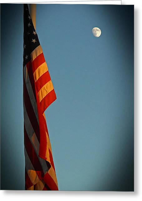Flag And The Moon Greeting Card
