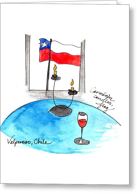 Flag And Wine Greeting Card by Anna Elkins
