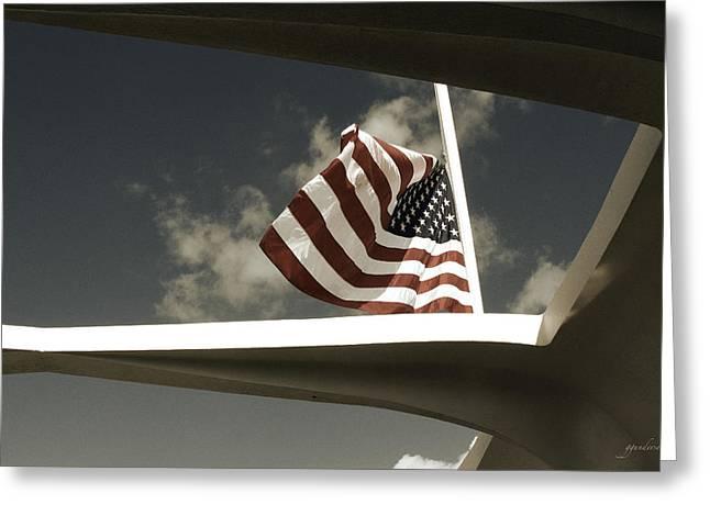 Flag At Half Mast Over Pearl Harbor Monument - Hawaii Greeting Card