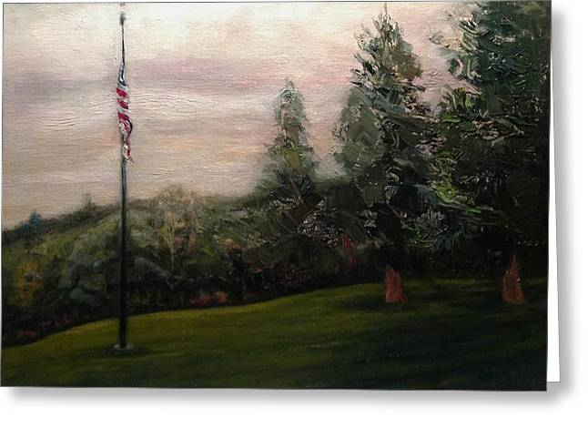 Flag Pole At Harborview Park Greeting Card