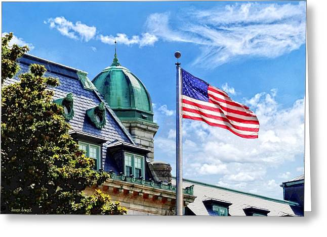 Flag Flying Over Tecumseh Court Greeting Card