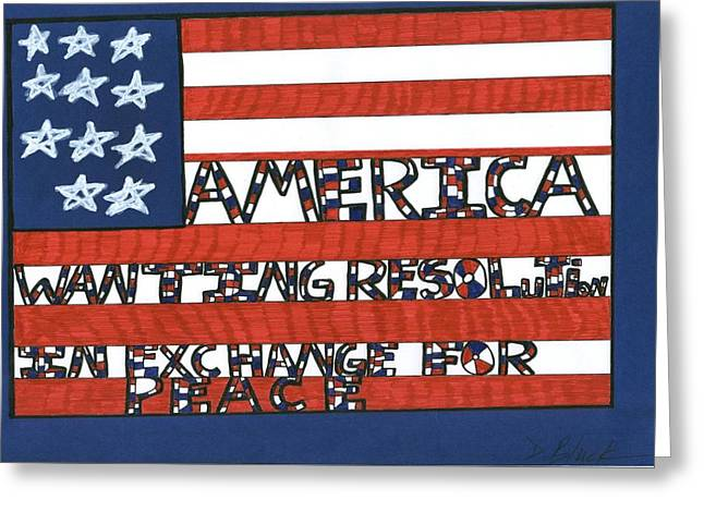 Flag Four Greeting Card by Darrell Black