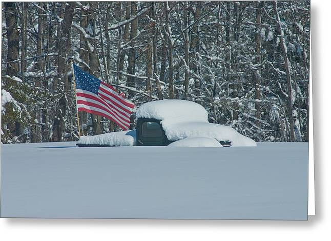Flag In The Snow Greeting Card by David Bishop