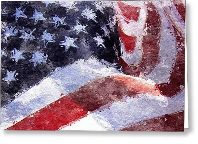 Greeting Card featuring the painting Flag by Mark Taylor