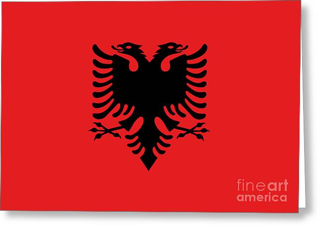 Greeting Card featuring the digital art Flag Of Albania Authentic Version by Bruce Stanfield