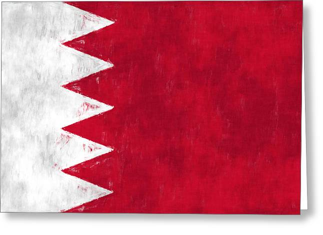 Flag Of Bahrain Greeting Card by World Art Prints And Designs