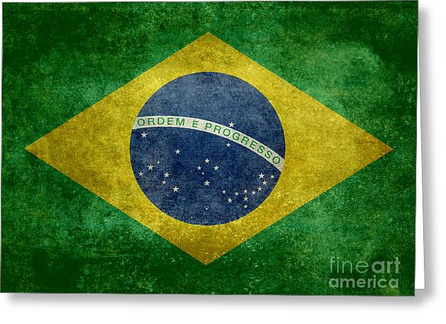 Flag Of Brazil Vintage 18x24 Crop Version Greeting Card