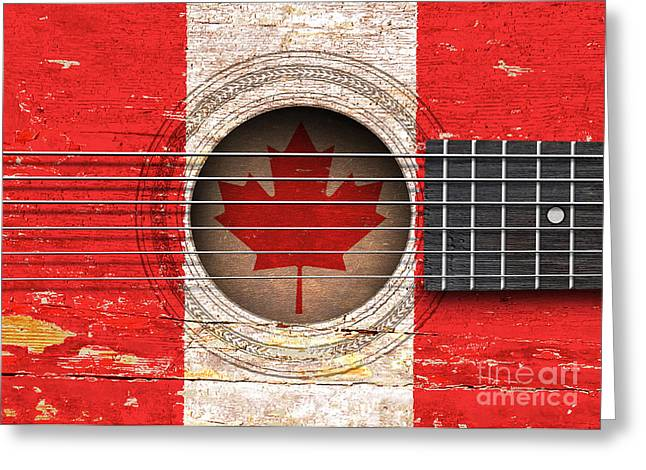 Flag Of Canada On An Old Vintage Acoustic Guitar Greeting Card by Jeff Bartels