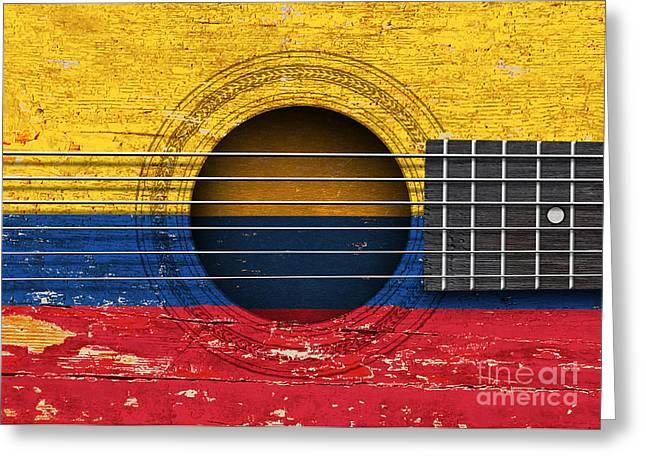Flag Of Colombia On An Old Vintage Acoustic Guitar Greeting Card by Jeff Bartels