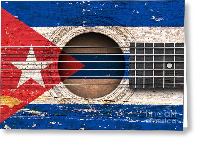 Flag Of Cuba On An Old Vintage Acoustic Guitar Greeting Card by Jeff Bartels