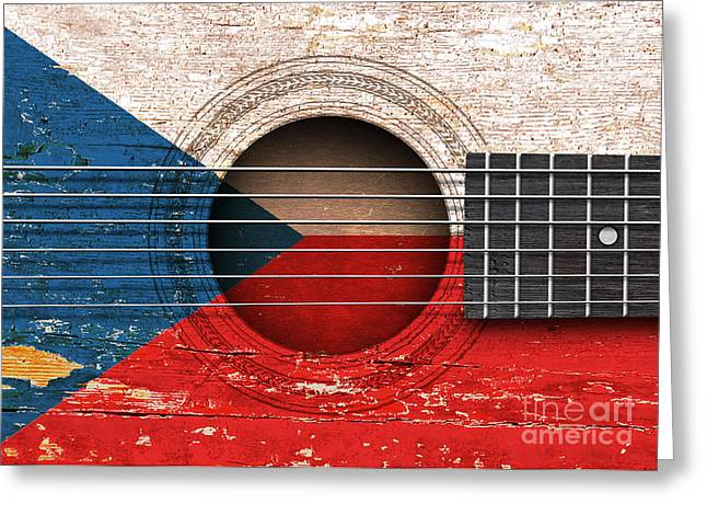 Flag Of Czech Republic On An Old Vintage Acoustic Guitar Greeting Card by Jeff Bartels