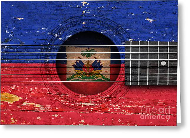 Flag Of Haiti On An Old Vintage Acoustic Guitar Greeting Card