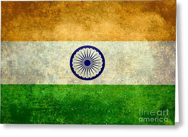 Flag Of India Vintage 18x24 Crop Version Greeting Card