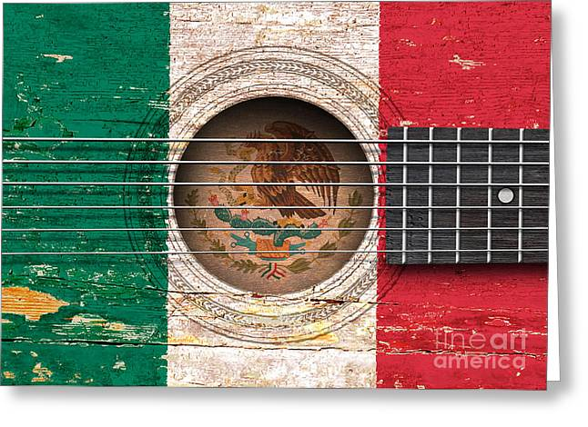 Flag Of Mexico On An Old Vintage Acoustic Guitar Greeting Card by Jeff Bartels