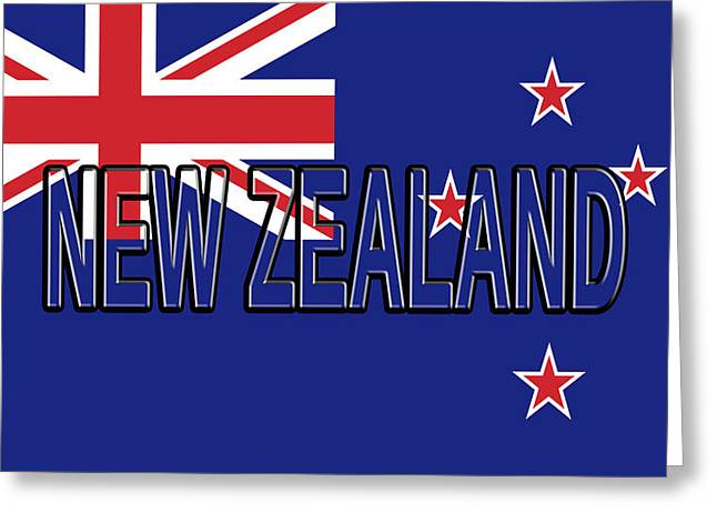 Flag Of New Zealand Word Greeting Card