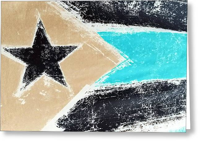 Flag Of Puerto Rico Negative Greeting Card by Rob Hans