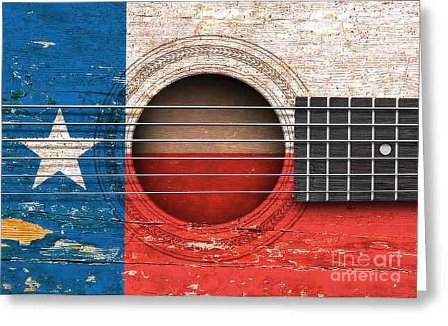 Flag Of Texas On An Old Vintage Acoustic Guitar Greeting Card
