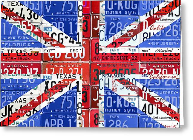 Flag Of United Kingdom Great Britain Union Jack From Recycled Vintage American License Plates Greeting Card by Design Turnpike