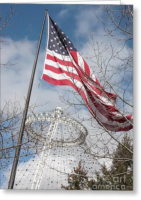 Flag Over Spokane Pavilion Greeting Card by Carol Groenen