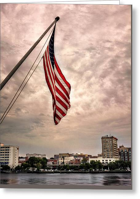 Flag Over Wilmington Greeting Card by Chrystal Mimbs