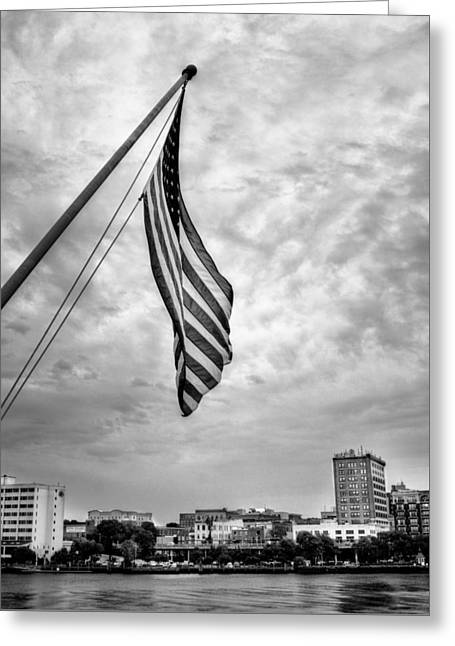 Flag Over Wilmington In Black And White Greeting Card by Chrystal Mimbs