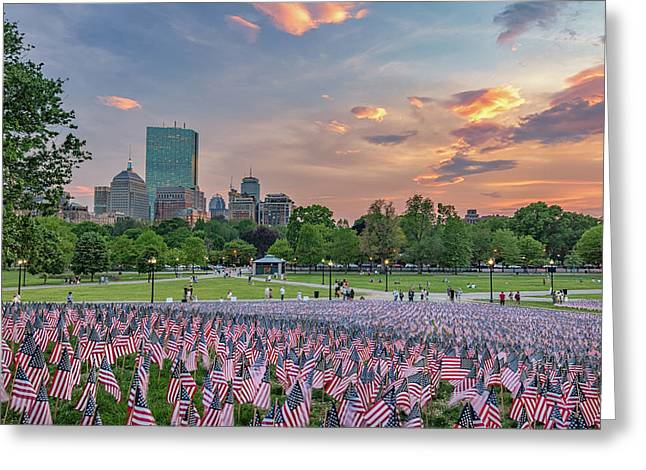 Flag Sunset On Boston Common Greeting Card