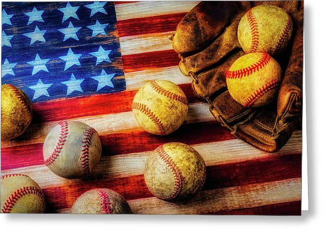 Flag With Baseballs Greeting Card by Garry Gay