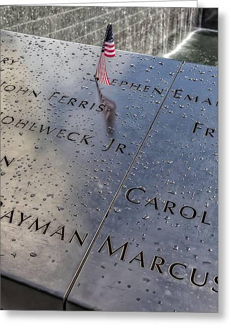 Flag World Trade Center Memorial July 4 2015 Greeting Card by Robert Ullmann