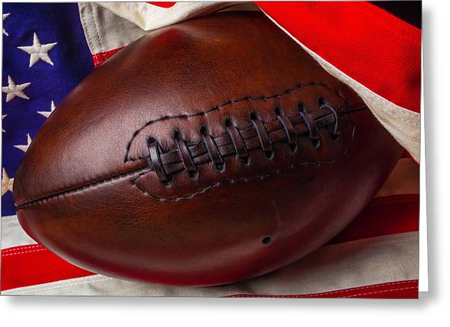 Flag Wrapped Football Greeting Card by Garry Gay