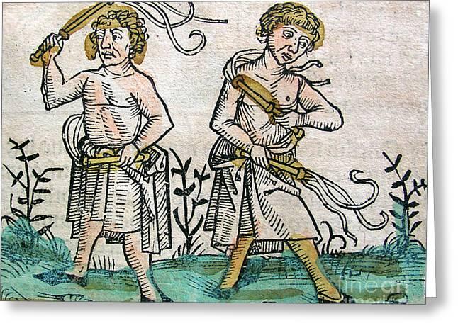 Flagellants, Nuremberg Chronicle, 1493 Greeting Card by Science Source