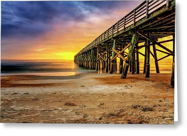 Flagler Beach Pier At Sunrise In Hdr Greeting Card