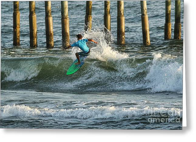 Flagler Beach Surf Day Greeting Card by Deborah Benoit